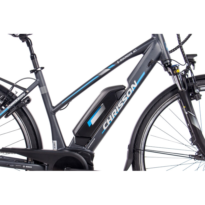28 Zoll E-Bike City Damen CHRISSON E-ROUNDER mit 7 Gang Shimano BOSCH 400Wh anthrazit-grau-matt