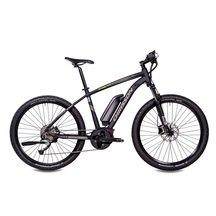27,5 Zoll E-Bike Mountainbike CHRISSON E-MOUNTER 1.0 mit BOSCH PLine Gen3 & Powerpack 400 schwarz-matt