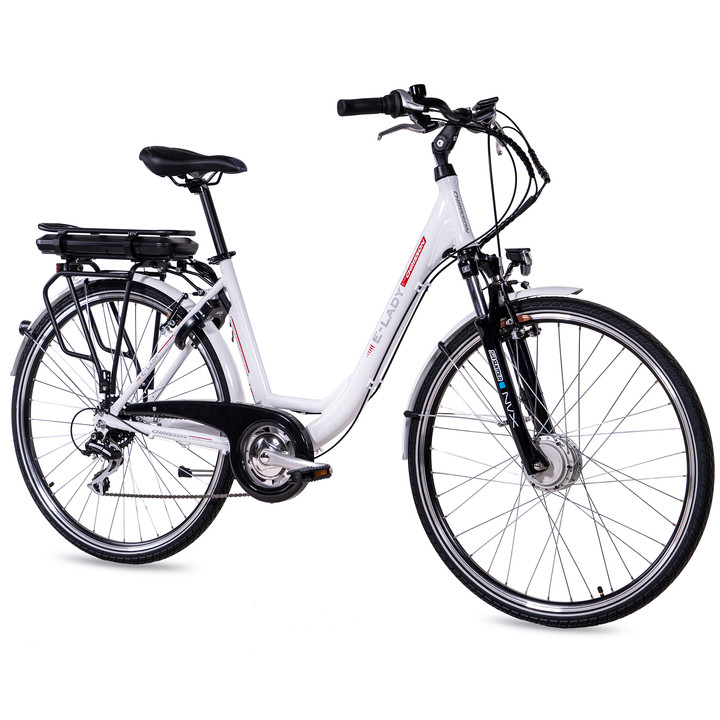 28 Zoll E-Bike City Damen CHRISSON E-LADY mit 8 Gang Shimano Acera Ananda Motor weiß