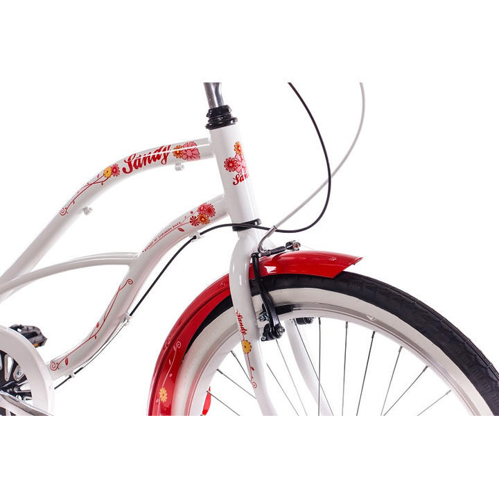 26 Zoll Beachcruiser Damen CHRISSON SANDY mit 3 Gang Shimano Nexus weiß-rot
