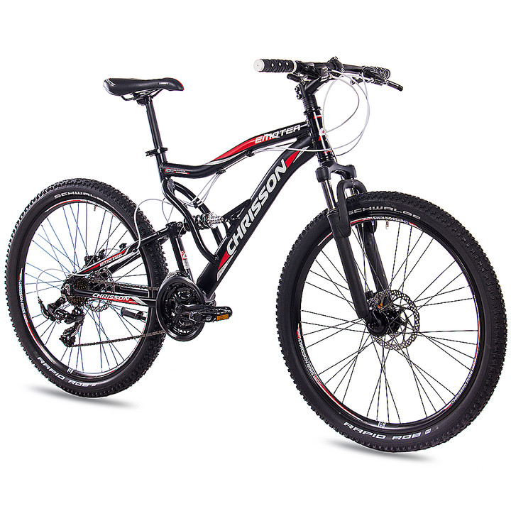 26 Zoll Mountainbike Fully CHRISSON EMOTER mit 21 Gang Shimano Tourney schwarz-matt