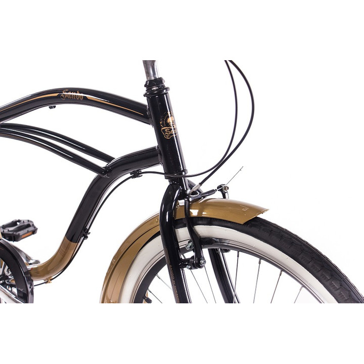 26 Zoll Beachcruiser Herren CHRISSON SANDO mit 3 Gang Shimano Nexus schwarz-gold