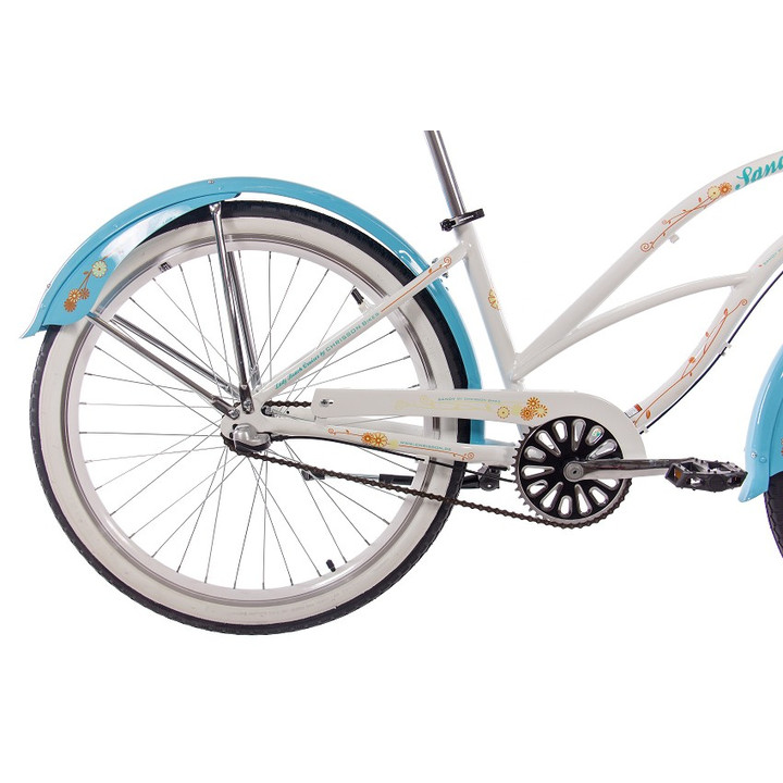 26 Zoll Beachcruiser Damen CHRISSON SANDY mit 3 Gang Shimano Nexus weiß-blau