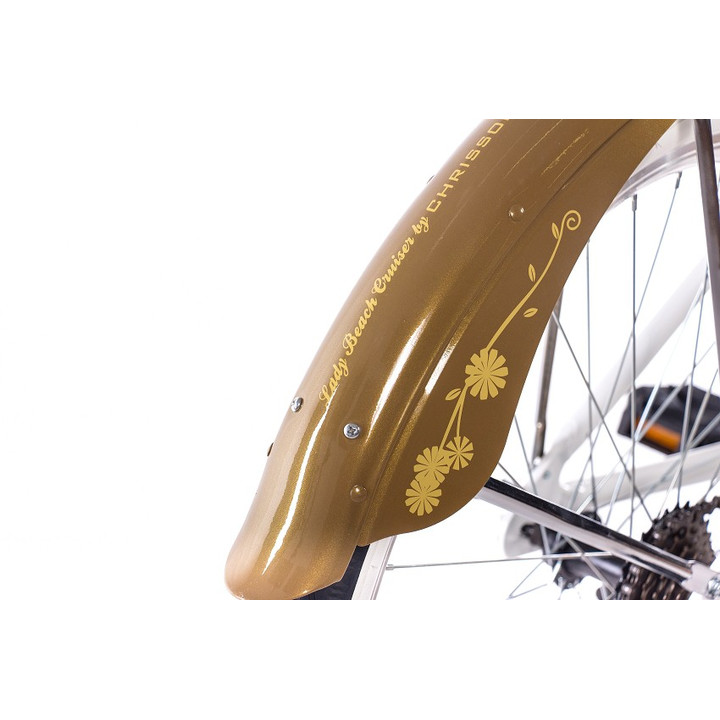 26 Zoll Beachcruiser Damen CHRISSON SANDY mit 6 Gang Shimano Tourney weiß-gold