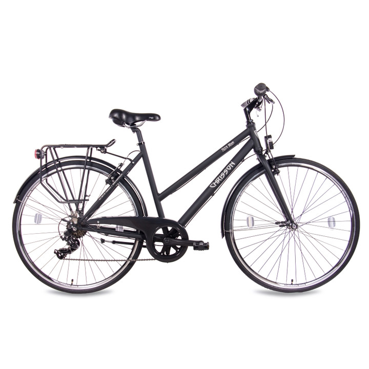 28 Zoll Citybike Damen CHRISSON CITY ONE mit 7 Gang Shimano Tourney schwarz-matt