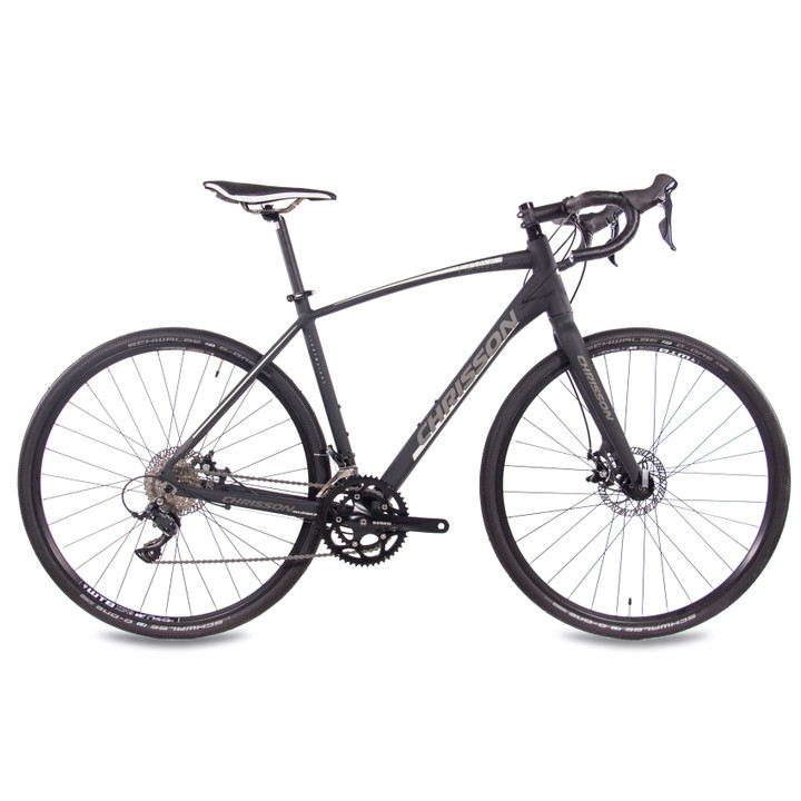 28 Zoll Gravelbike CHRISSON GRAVEL ROAD ONE mit 18 Gang Shimano Sora schwarz-matt